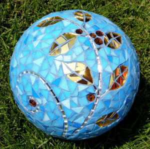 Mosaic Garden Gazing Ball or Stepping Stone CUE