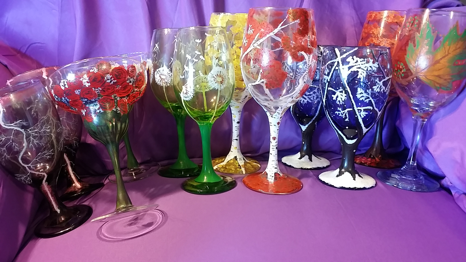 Wine Glass Painting Fall Leaves Cue