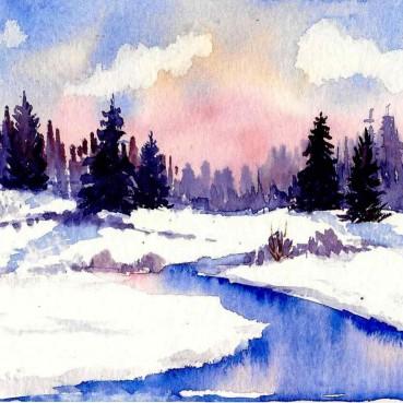 Watercolor Landscapes Cue